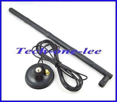 Envío Gratis 2,4G wifi 15dbi RP-SMA Antena de red del Router + + imán Base magnética RP SMA conector