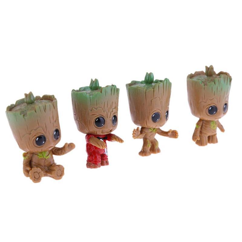 4PCS Mini Tree Man Grootted Doll Keychain Toys Baby Treeman Keychain Pendant Toys Mini Action Figure Toys