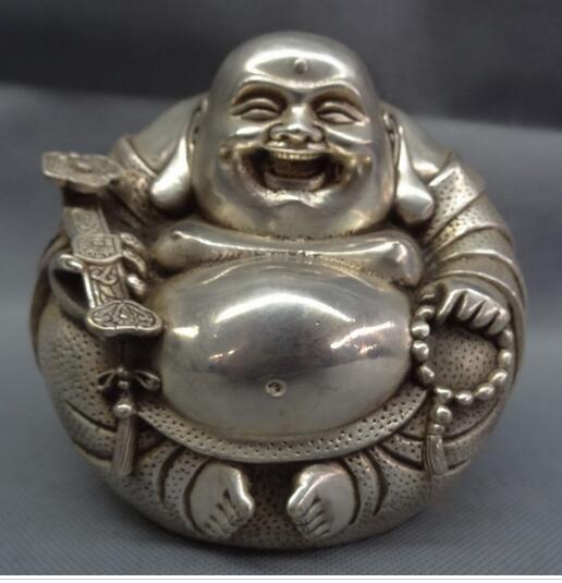 decoration copper silver factory Chinese Silver Buddhism RuYi Happy Laughing Maitreya Buddha Bead Brass Fo Statue