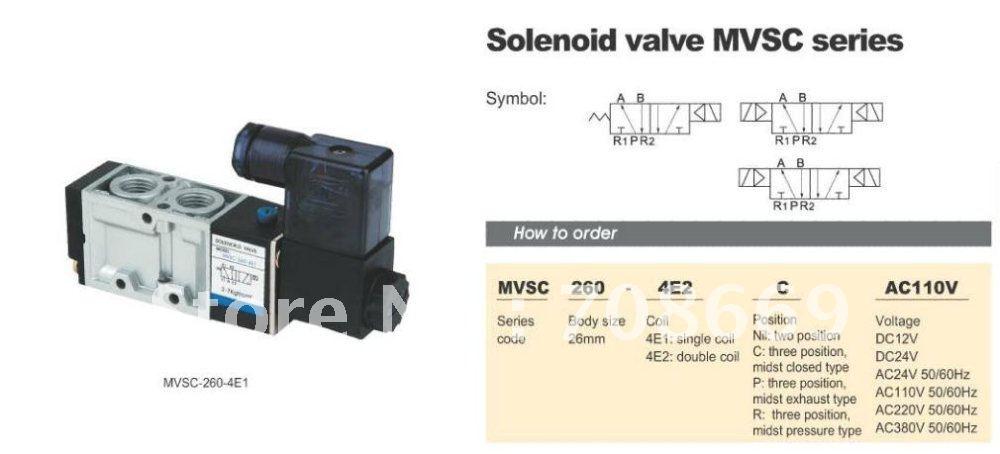 "MVSC260-4E2 12V DC 5Port 2Pos 1/4"" BSP Solenoid Air Valve Double Coil Led"
