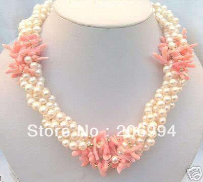 6 - 7 mm branco pérola rosa Coral colar de jóias, Porta