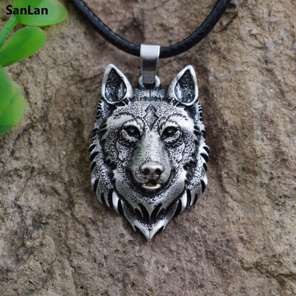 SanLan 1 Uds. Colgante de collar con cabeza de Lobo, amuleto de vikingo de poder nórdico Animal, colgantes y collares para hombre y mujer, joyería de regalo