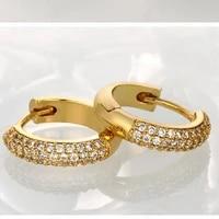 cubic zircon solid yellow gold filled womens hoop earrings pretty gift