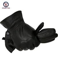 winter man deer skin leather gloves male warm soft mens arm sleeve black men mittens imitate rabbit fur 70 wool lining 03