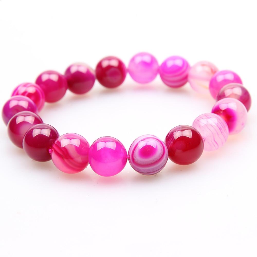 Новинка браслет Будды из натурального камня с бусинами в полоску розовый красный
