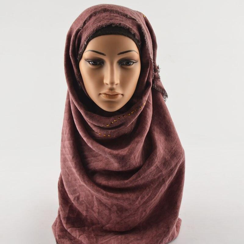 غلاف قطني عالي الجودة بخرز ذهبي ، شالات ملفوفة بأزرار ، وشاح قطني لامع سادة ، وشاح رأس عادي ، حجاب إسلامي ، رأس