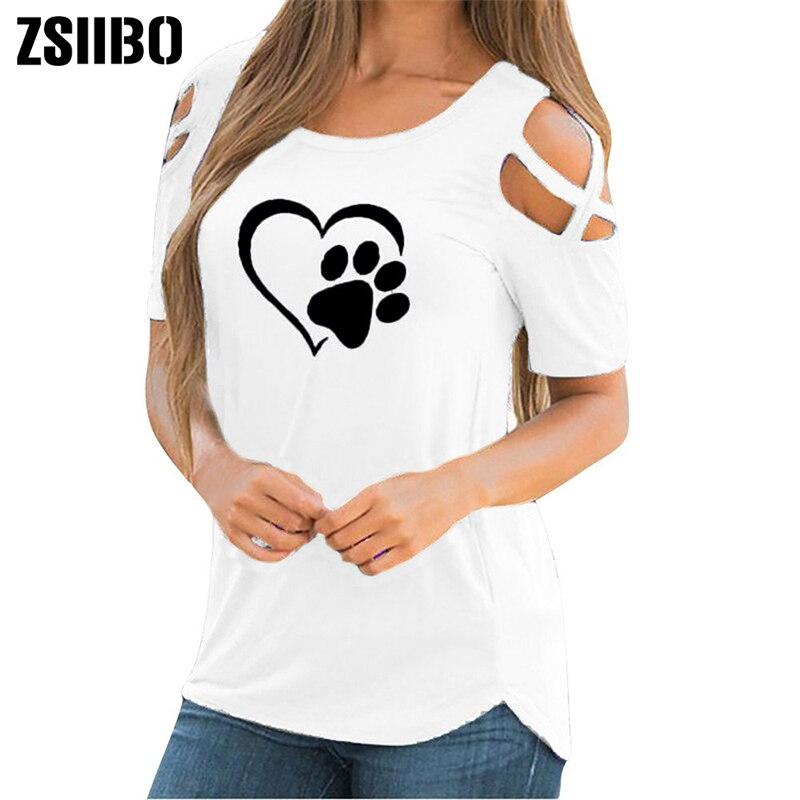 Primavera Verano otoño Linda Camiseta de manga corta Mujer verano pata impresa camiseta con tiras camisa Casual hombro frío Tops