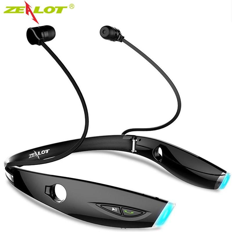 ZEALOT H1 سماعات رياضة لاسلكية مقاوم للماء قابلة للطي المحمولة سماعة رأس بخاصية البلوتوث مع ميكروفون الرقبة ارتداء سماعات ستيريو