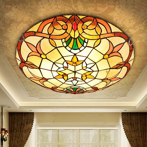 Lámpara de techo estilo barroco moderno, luz LED Pastoral E27 de 12/16/20...