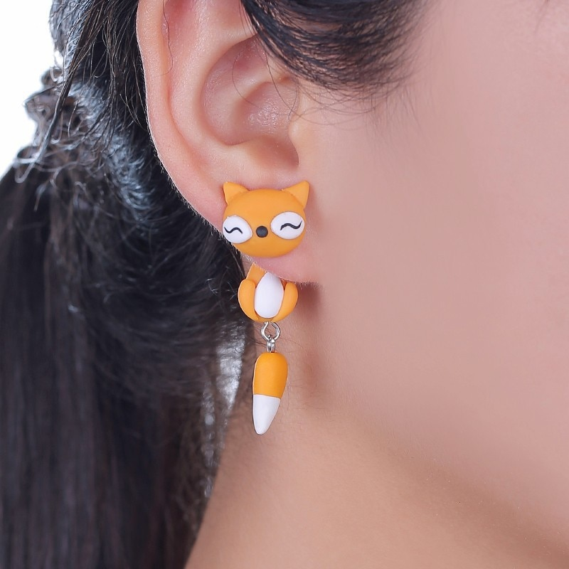 TTPAIAI 30 Brand Handmade Polymer Clay Cute Yellow Fox Stud Earrings Fashion 3D Animal Earrings For Women Jewelry Kids Best Gift