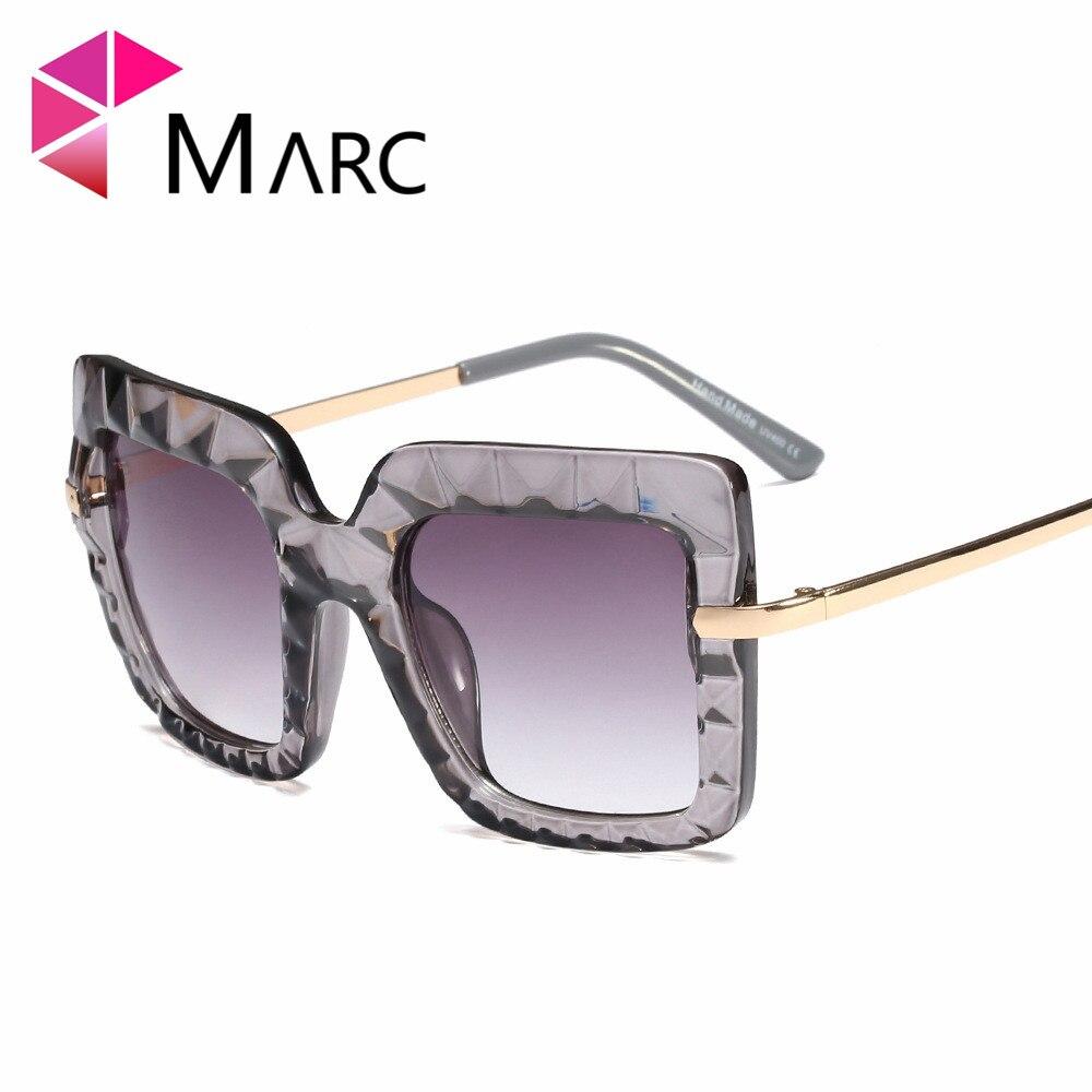 MARC Fashion sunglasses trend Gradient Transparent Plastic Oversize Red Leopard Sol de gafas Sun glasses Square UV400