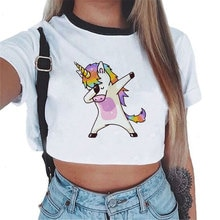Gilet femmes haut court Sexy blanc chemise décontracté Slim T Shirts Camisole plage licorne serpent imprimé manches courtes Tee Tank hauts Femme