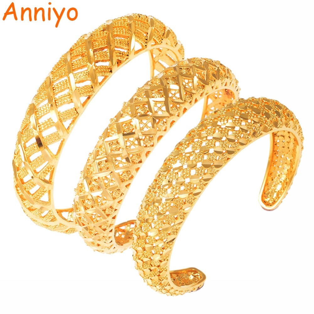Anniyo africano pulseras de puño diseño hueco Color oro Dubai árabe brazaletes mejor joyería étnica mujeres mamá madre regalo #160006