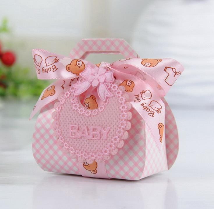 60 unids/lote Baby Shower caja de dulces para bebé lindo Babyshower cajas para fiesta babero adorable para bebé rosa azul dulce pequeña caja de regalo