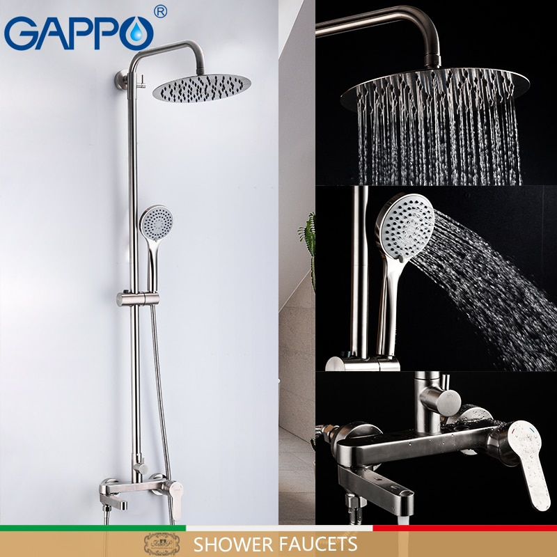 GAPPO دش الحنفيات حمام من الفولاذ المقاوم للصدأ صنبور دش مجموعة الحمام خلاط أدوات دش شلال دش الحنفيات G2499-30