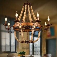 Campagne rétro fer rouille couleur chanvre corde lustre 6/8 têtes café/vêtements magasin Restaurant salon bougie pendentif lampe