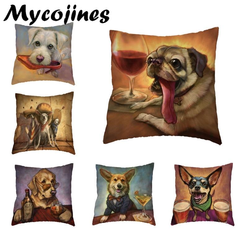 Funda de cojín caliente de Corgi para mascotas, café y cerveza, Golden Retriever, Schnauzer Chihuahua, 45x45Cm, decoración de Rock para sillas de oficina y hogar