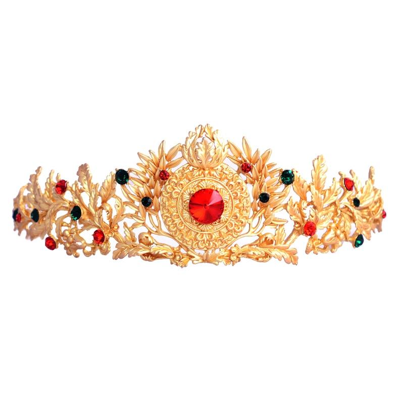Accesorios para el cabello de boda corona de novia amarilla hojas de gama alta Tiara cabeza de Reina joyería diadema regalo de dama de honor