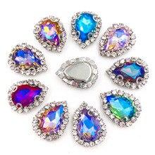 Forma de lágrima plata Ajuste de costura cristal botón Rhinestones para la ropa pinzas cabello joyas vestido de boda