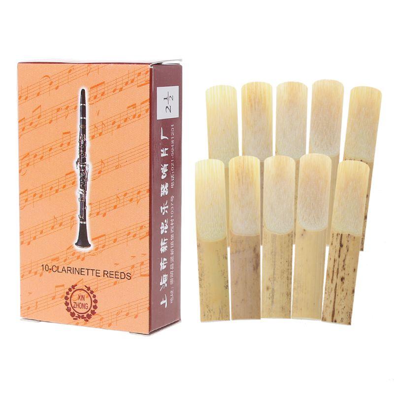 Lengüetas de clarinete de fuerza 2,5, instrumento de música, lengüetas de bambú tradicionales, 10 Uds.
