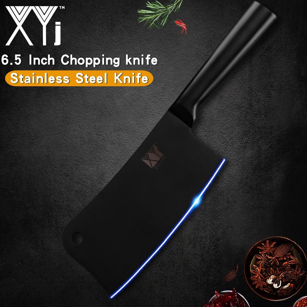 Cuchillo de cuchilla de acero inoxidable XYj de 6,5 pulgadas para manillar de soldadura sin costuras, cuchillo para picar carne, carne, hueso, herramienta de cocina, accesorio de cocina