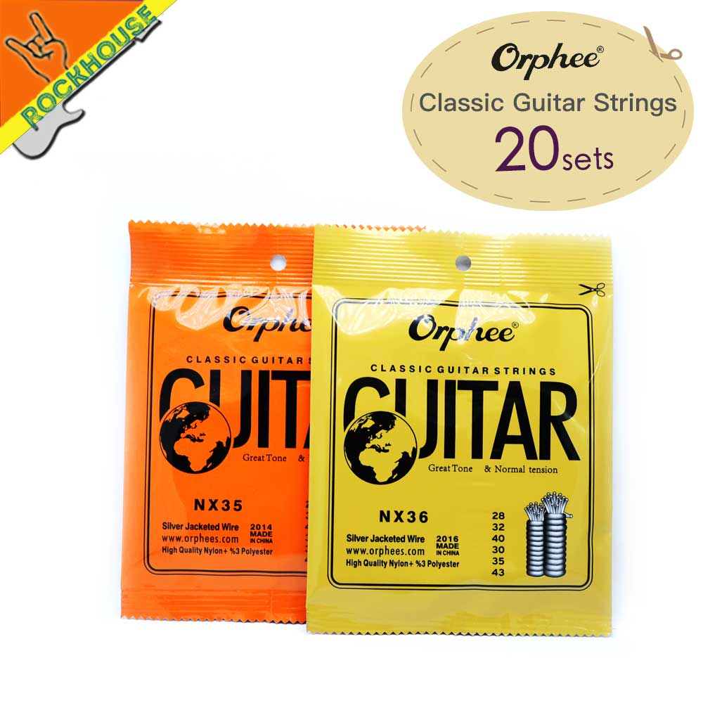 Cuerdas de guitarra clásica 20 piezas de nailon + cuerdas de guitarra clásicas 3% poliéster embalaje al vacío de tensión normal y dura envío gratis