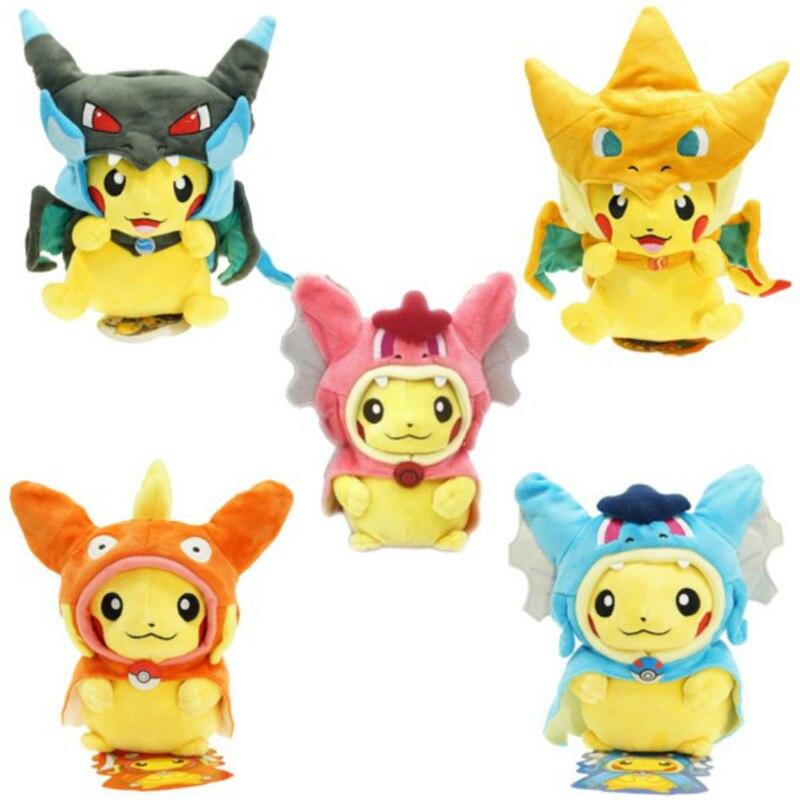 Dessin animé Gyarados Cosplay Pikachu Peluche Mega Charizard coton peluches poupées enfants jouets en Peluche enfants cadeaux de noël