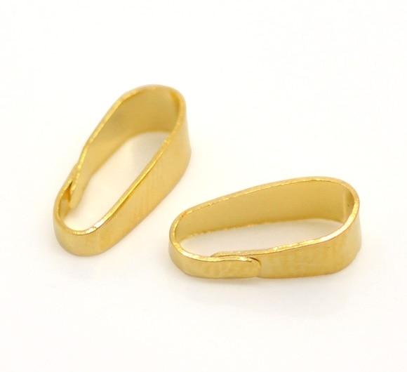 """Zinc metal alloy Pendant Bails Clips & Pendant Clasps Gold Color 11mm( 3/8"""") x 4mm( 1/8""""), 50 PCs new"""