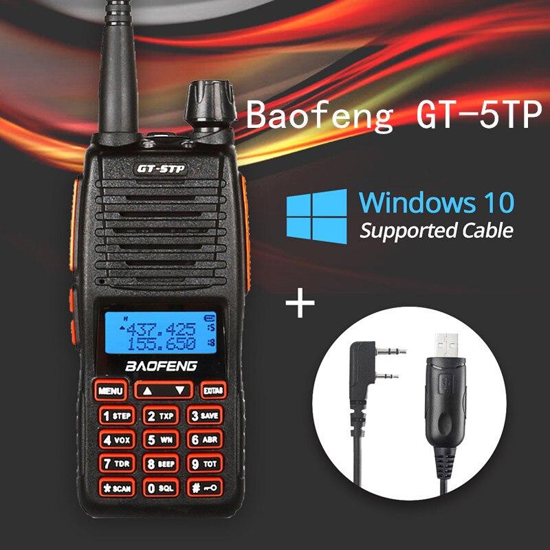 De Baofeng GT-5TP Tri-potencia 1/4/8 W banda Dual VHF/UHF 136-174/400- radio de dos vías de 520 MHz Walkie Talkie GT-5 con Cable compatible con Win10