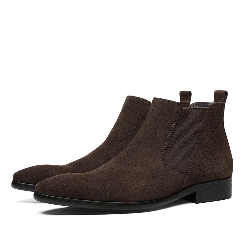 Moda Preto/Brown Botas Chelsea Botas de Vestido Dos Homens Ankle Boots de Camurça de Couro Sapatos Casuais Masculinos