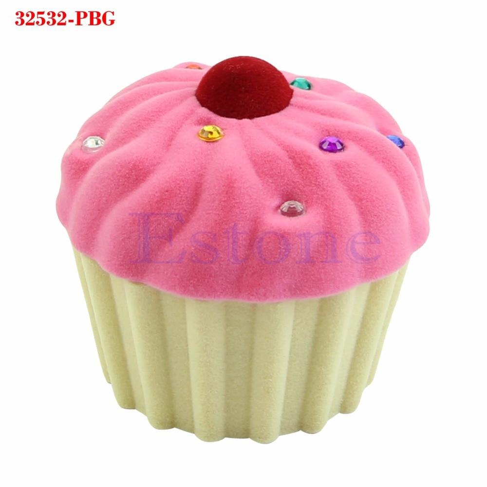 Милая форма чашки торта бархатная коробка для кольца сережек ожерелье с подвеской-замочком ювелирный чехол