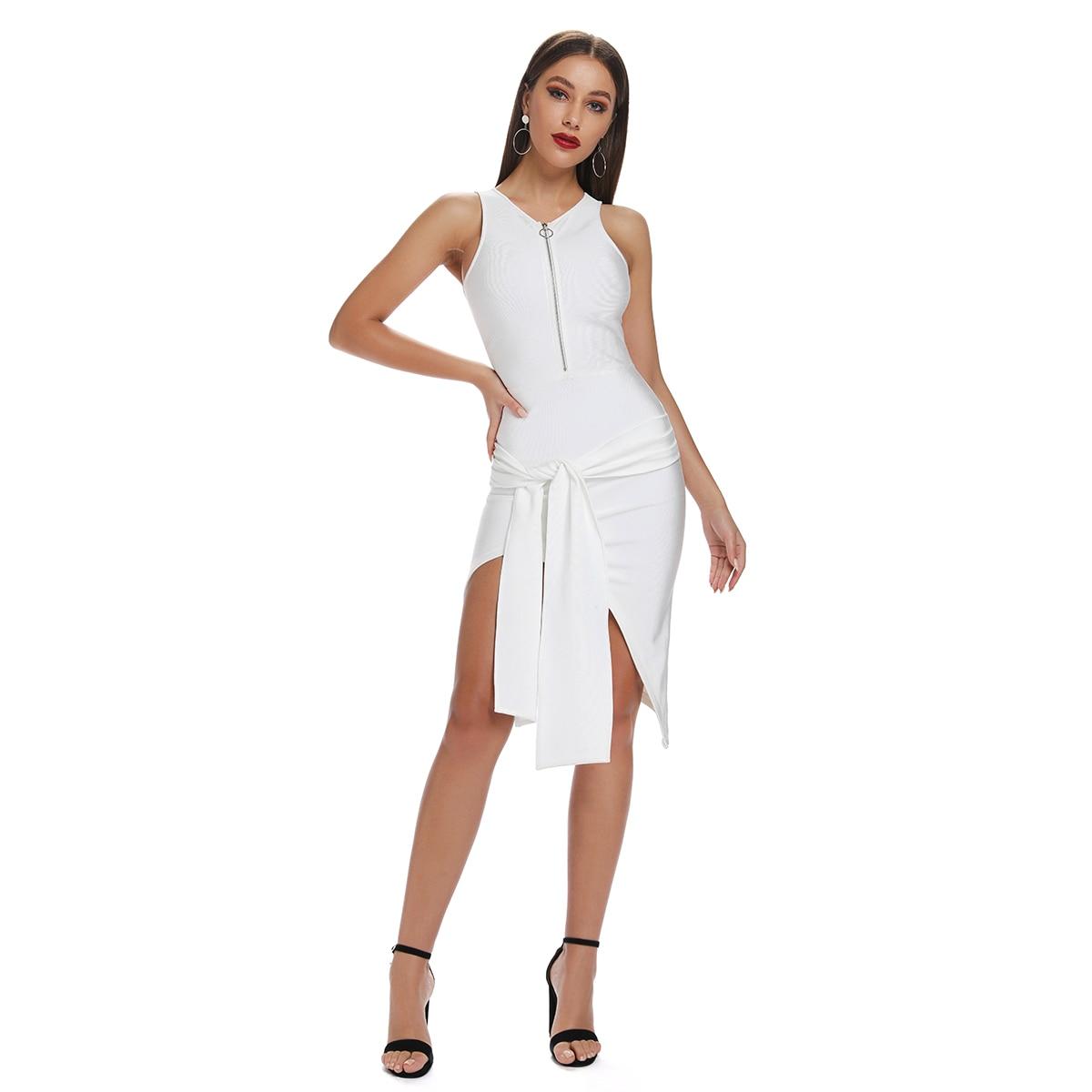 2019 nuevo vestido de rodilla de vendaje Midi de cuello redondo Mujer manga sólida Bodycon Club de fiesta de cintura con cremallera Vestidos al por mayor