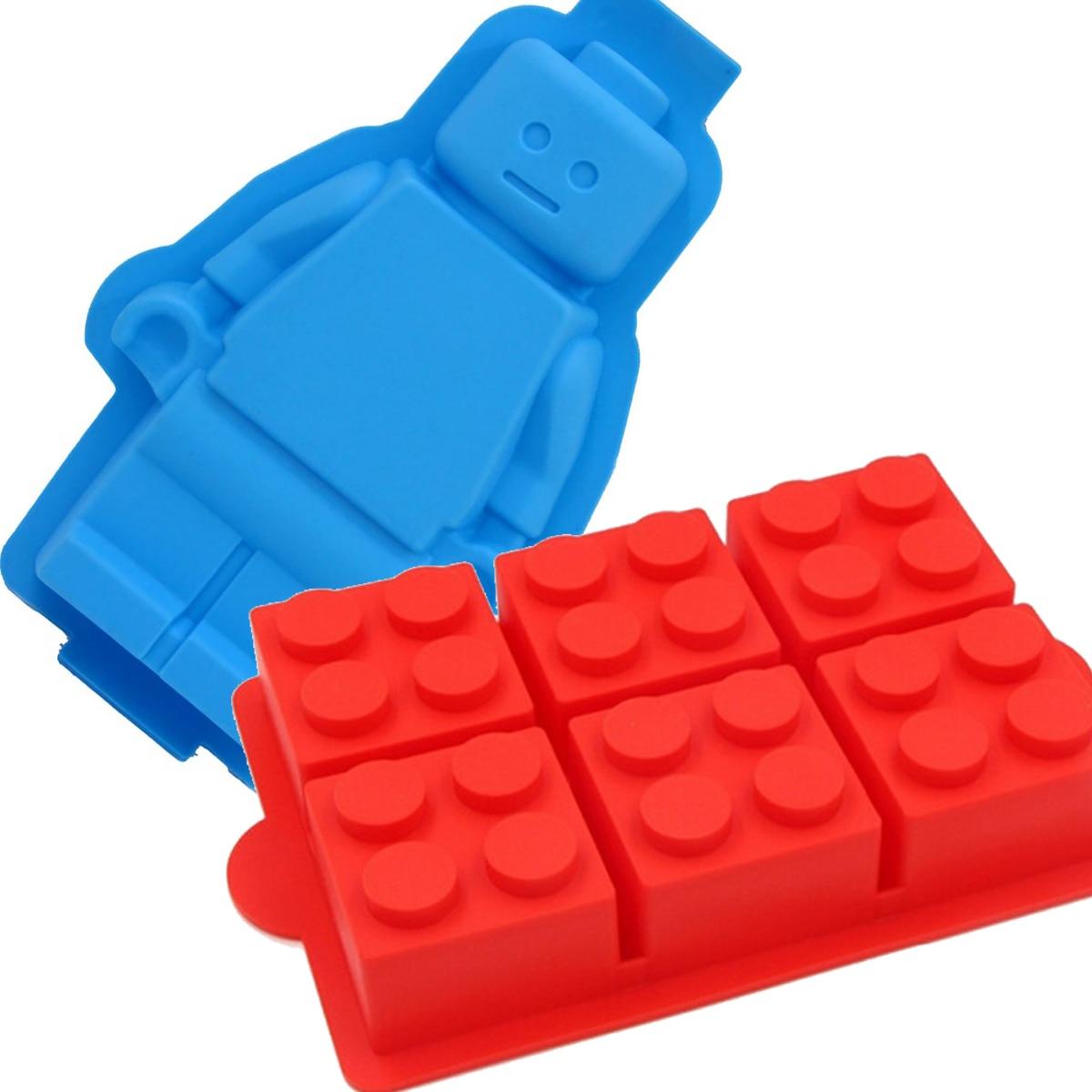Gran Lego bloques de robots molde en forma de pastel decoración herramientas de silicona de molde de hielo de 6 ladrillos herramientas helados bañeras molde de pastel de silicona