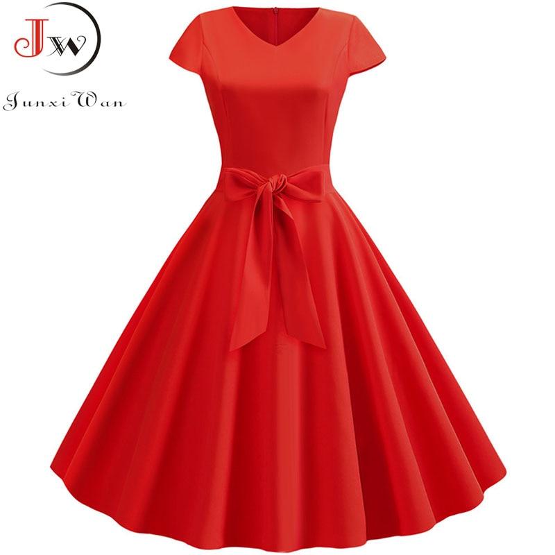 Vestido Midi Pin Up y Rockabilly de mujer, vestido liso Retro informal, de manga corta, escote triangular, rojo y de talla grande para fiesta de verano
