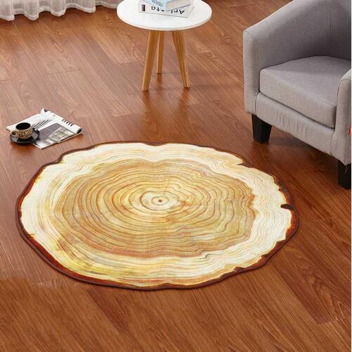 RETRO Antique Wood Tree Annual Ring Round Carpet For Living Room Bedroom Study Chair Mat Plush Rug 60/80/90/100CM Diameter