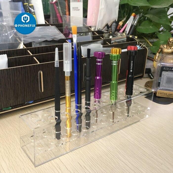 Caja de plástico transparente, tornillos de precisión, caja de almacenamiento estante, destornillador, soporte organizador, soporte, herramienta de reparación de teléfonos móviles