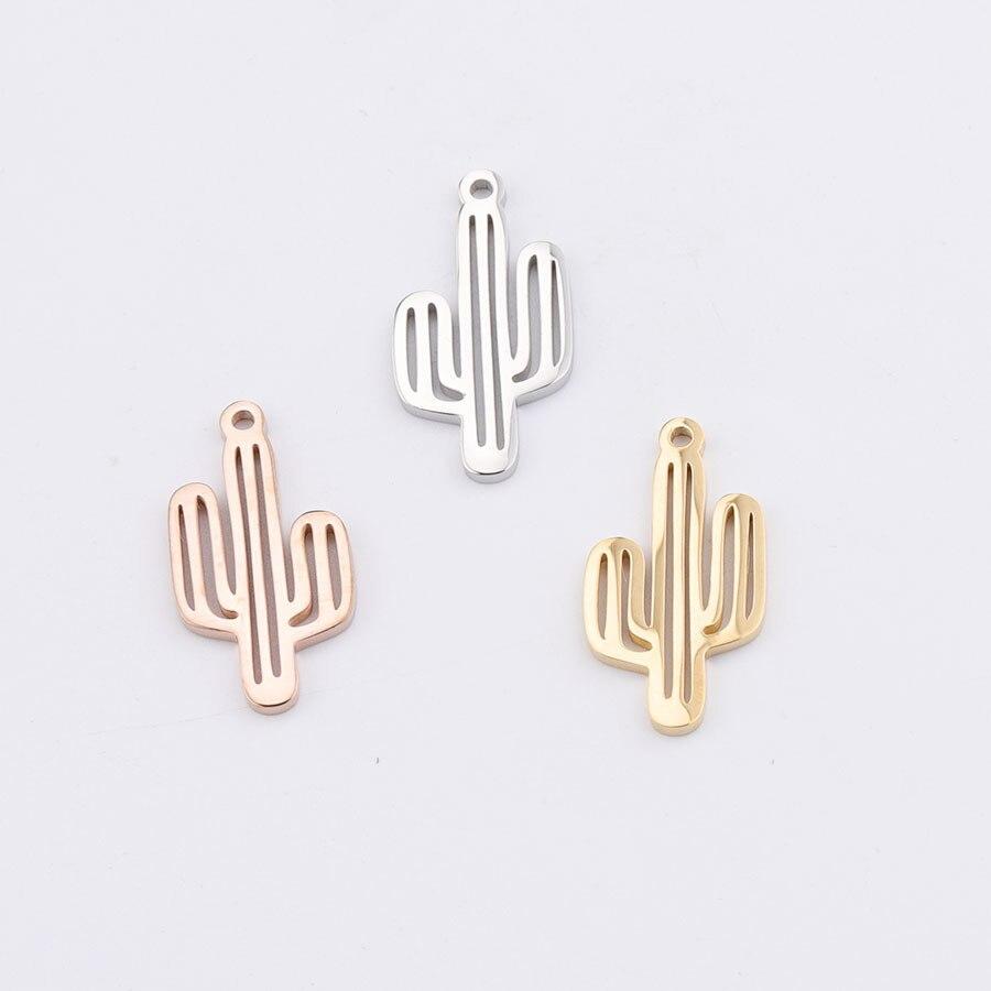 50 Uds. Colgante de Cactus con forma de Cactus hueco de acero inoxidable de Color dorado de 13x25mm para collar DIY hecho a mano fabricación de joyas