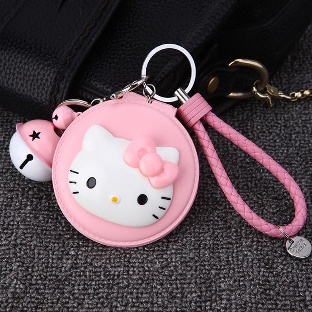 Cartoon Hello Kitty Cosmetic Mirror Keychain KT Cat Key Holder Women Car Purse Charm Pendant Key Chains Gift For Women Keychain