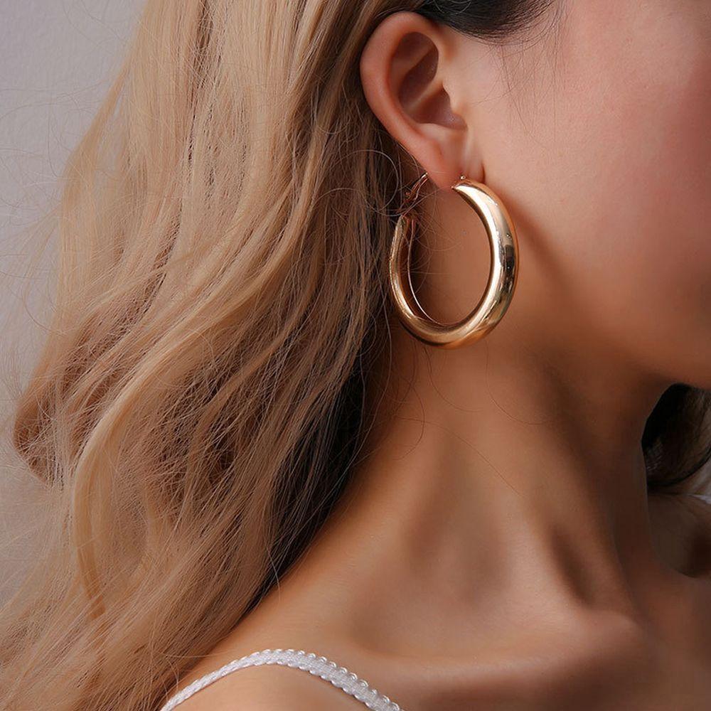 Pendientes de aro grandes de 50 mm de grosor estilo Punk, pendientes circulares de aleación minimalistas para mujer, pendiente de Hip Hop Rock oorbellen