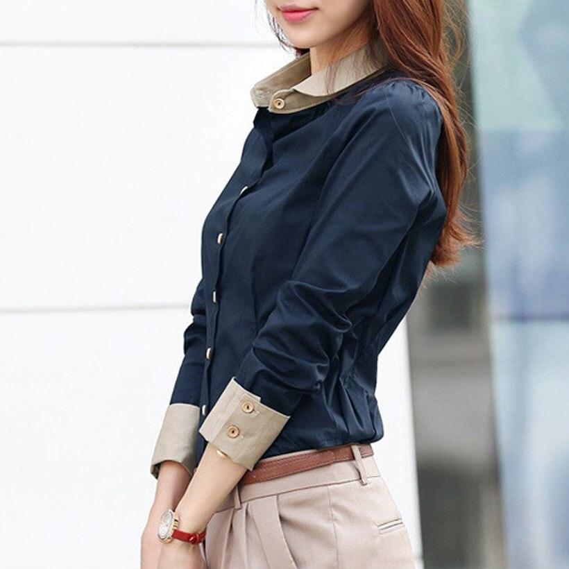 Женская офисная блузка на пуговицах, Повседневная приталенная блузка с отложным воротником и длинным рукавом, офисная блузка размера плюс, ... блузка trend