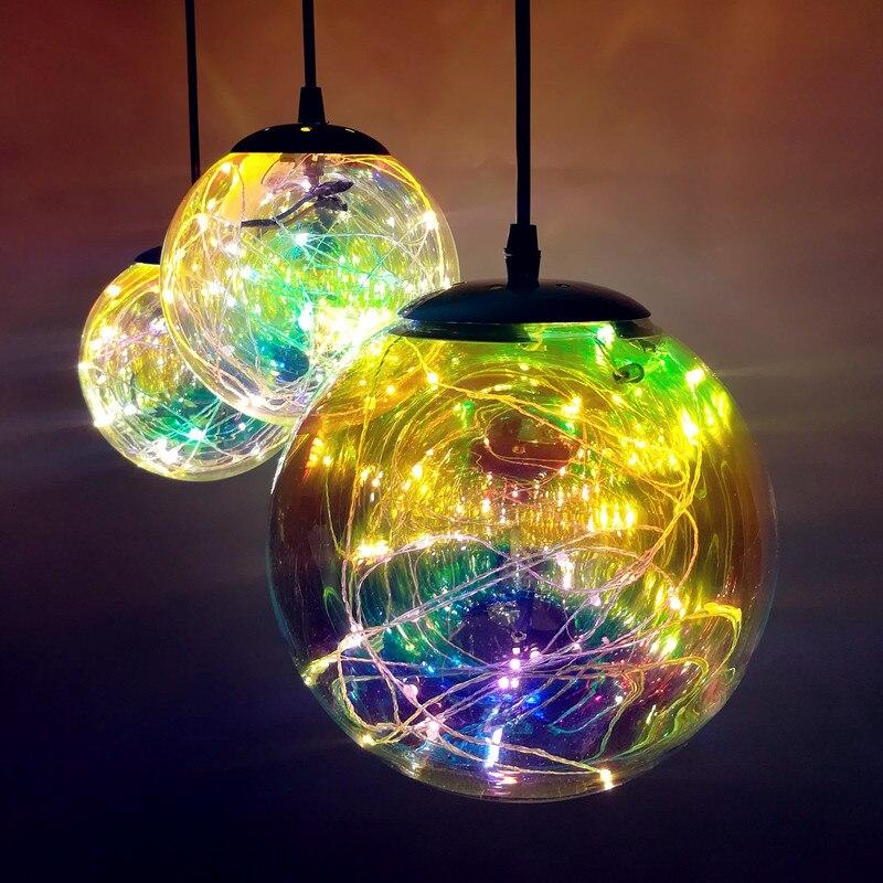 Moda bola de vidro luz pingente moderno led interior lâmpada restaurante sala jantar bar loja decoração luminária AC110-265V