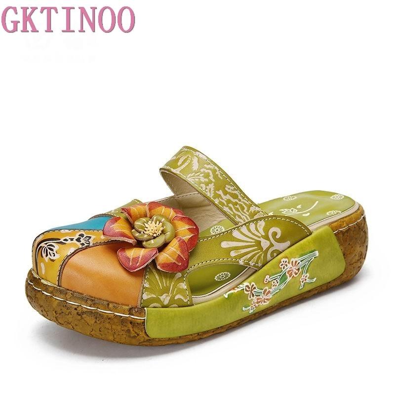 GKTINOO-شبشب من الجلد الطبيعي بالزهور للنساء ، شبشب ، صناعة يدوية ، قباقيب كبيرة الحجم