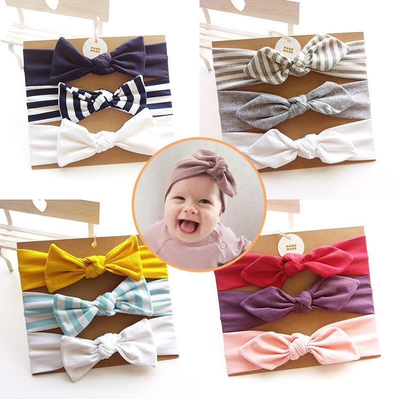 3Pcs Baby Headband Bow Elastic Hair Band Baby Girls Solid Headwear Children Turban Hair Accessories Set