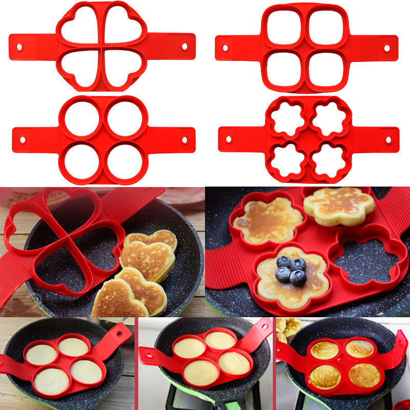 Molde antiadherente de silicona para hacer tortitas de huevo fantástico, moldes para tortillas de cocina, utensilios de cocina