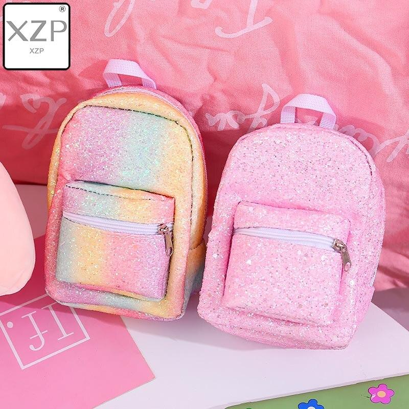 Xzp mini moeda bolsa de pulso mochila para mulher lantejoulas glitter pequena mochila designer meninas volta pacote kawaii bonito bagpack