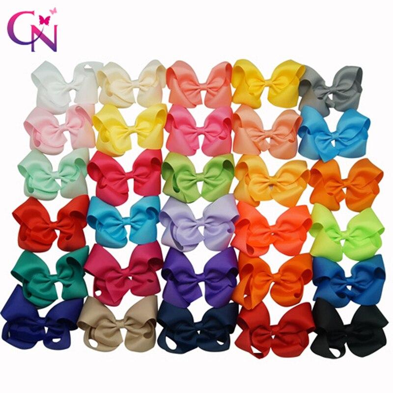 """30 unids/lote 3,5 """"Boutique lazos lisos para el pelo con Clip para niñas niños cinta de grogrén horquillas hechas a mano horquillas accesorios para el cabello"""