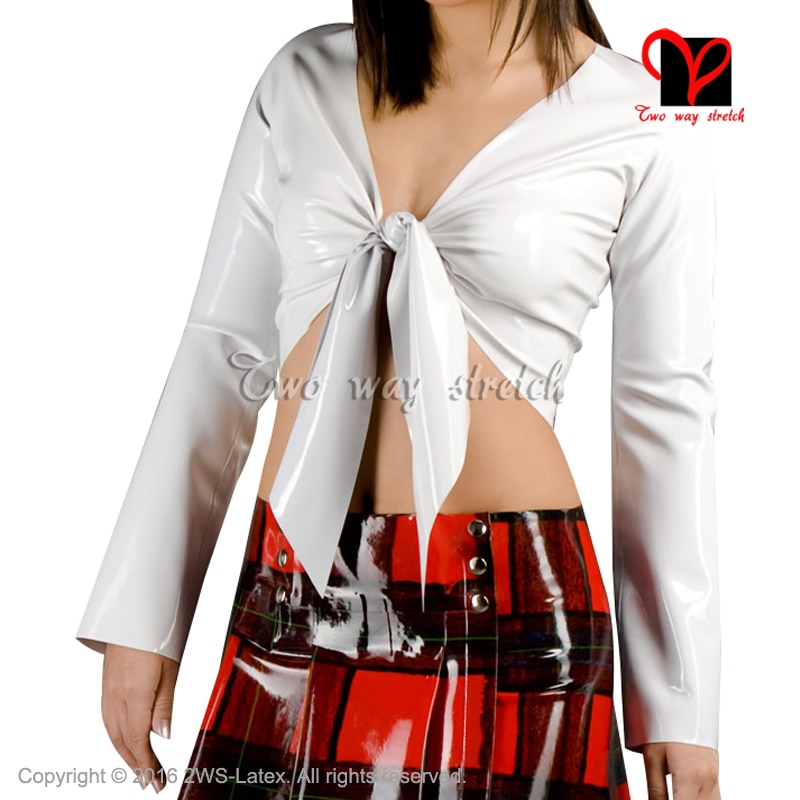 Sex Latex blouse with long sleeves lacing at front Rubber uniform shirt top Gummi clothes clothing XXXL plus size XXXL SY-048