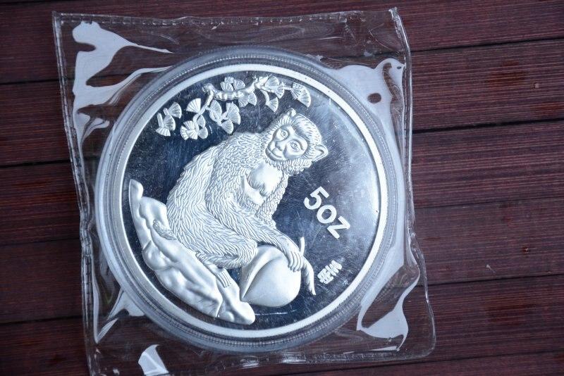 Moneda de plata rara 999 Shanghai Mint 5 oz, Monkey, 1992, envío gratis