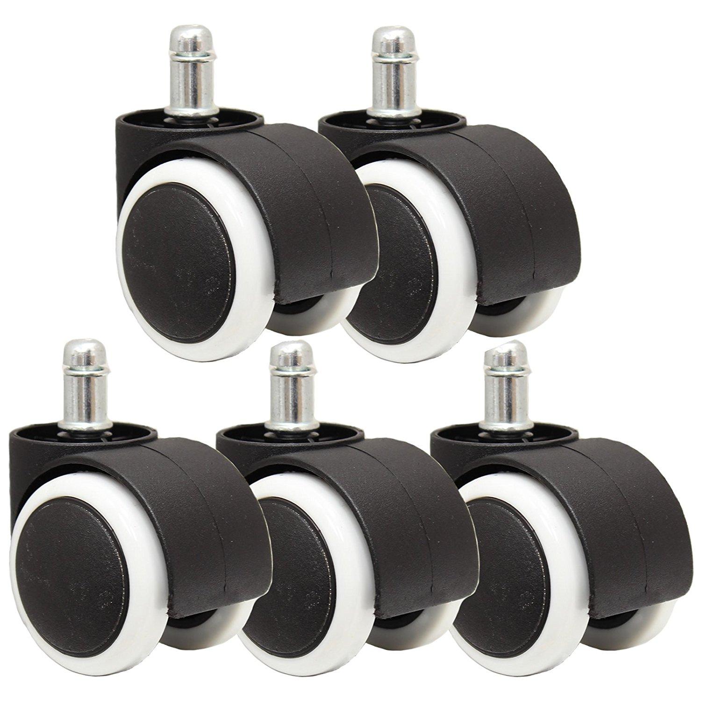 5PCS 50mm Universal Mute Caster Office Chair Roller Castor Wheels black&white 360 Degree swivel Chair Castor Plastic Wheels