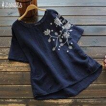 2020 ZANZEA Vintage Embroidery Tops Womens Summer Blouse Kaftan Linen Short Sleeve Tee Shirts Female O Neck Blusas S-5XL Tunic